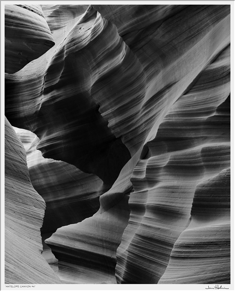 """Antelope Canyon #4,"" 2001 black and white photograph, print #6 35 1/8"" x 31 1/8"""