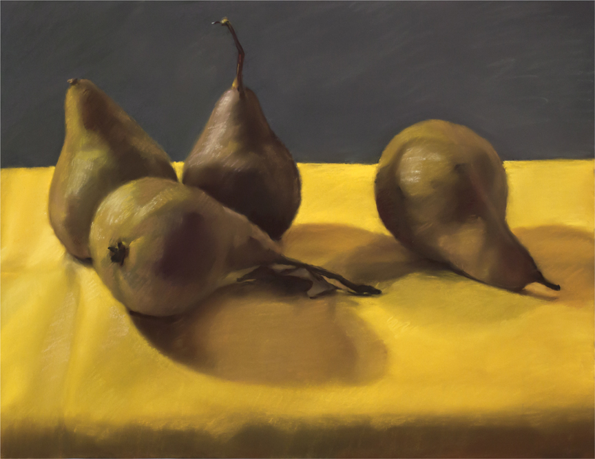 "Mary Joan Waid, ""Four Pears,"" 2012 pastel on paper 29 1/2"" x 35 1/2"""