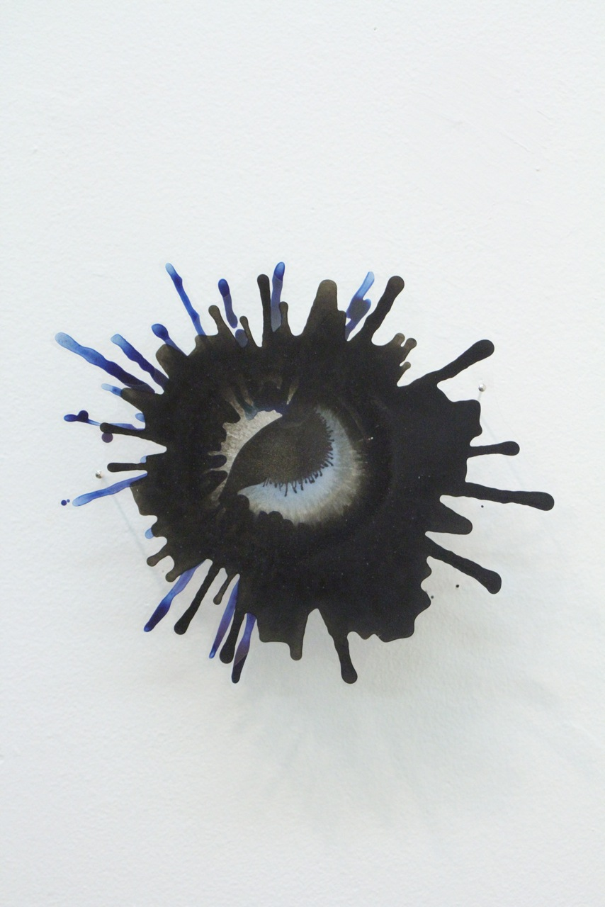 "Katy Stone, ""Other World (Black Iris)"" 2015  acrylic on duralar and paper  6"" x 7"""