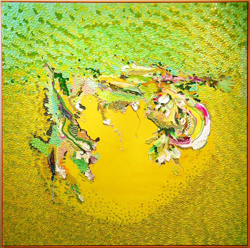 "Julia Fernandez-Pol, ""Lilly Pad Light,"" 2008  oil on canvas  74"" x 74"""