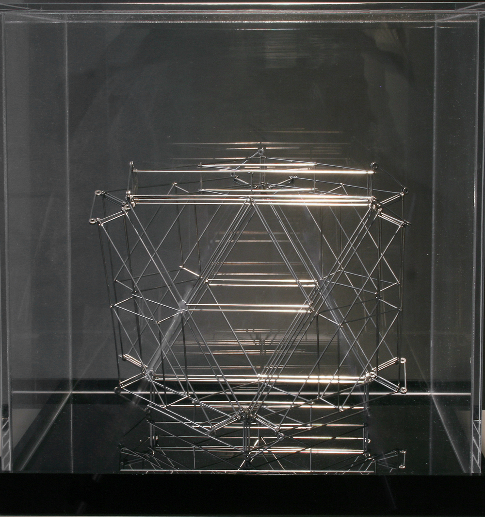"Vector Equilibrium Jitterbug Duo, 1980 stainless steel 8"" x 9"" x 7 1/2"""