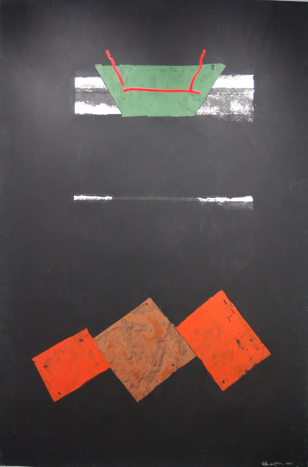 "Willem De Looper, ""Untitled,"" 1991 acrylic on paper 65"" x 45"""