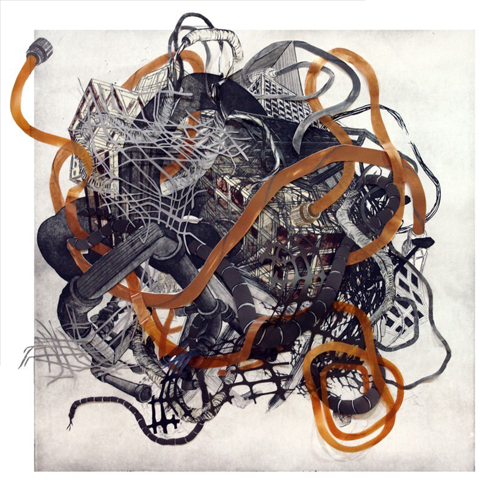 "Nicola Lopez, ""Urban Transformation #4,"" 2009 etching, lithography, woodcut collage  10/12 33 1/8"" x 33 1/8"""