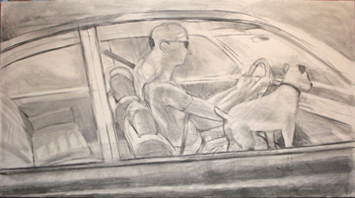"Peter Charlap, ""Journey,"" 2008 charcoal on papier maroufle 59 1/16"" x 108 1/4"""