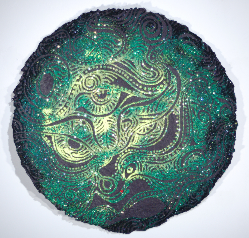 "Christopher Tanner, ""Dragon Moon,"" 2008 mixed media on handmade paper 25 1/2"" diameter"