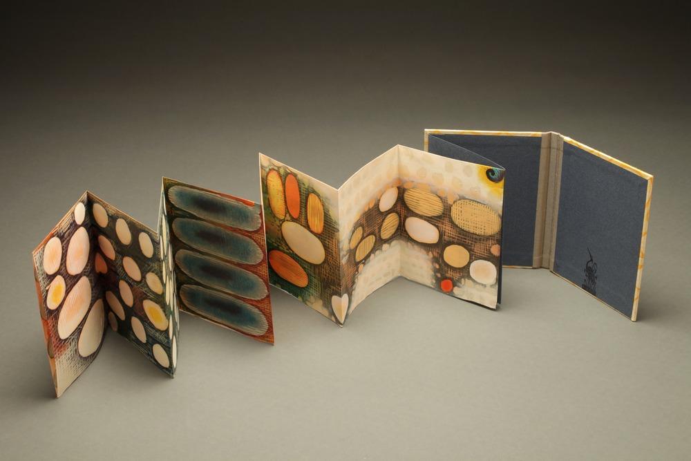 "Vastness, 2013-14 woodcut print artist book, 19/20 5 1/4"" x 37"""