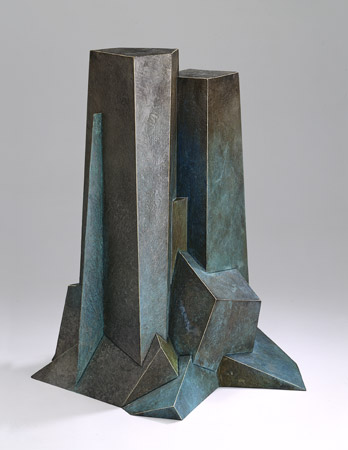 "Upthrust  , 1993  cast bronze with patina, 4/9  19"" x 16"" x 13"""