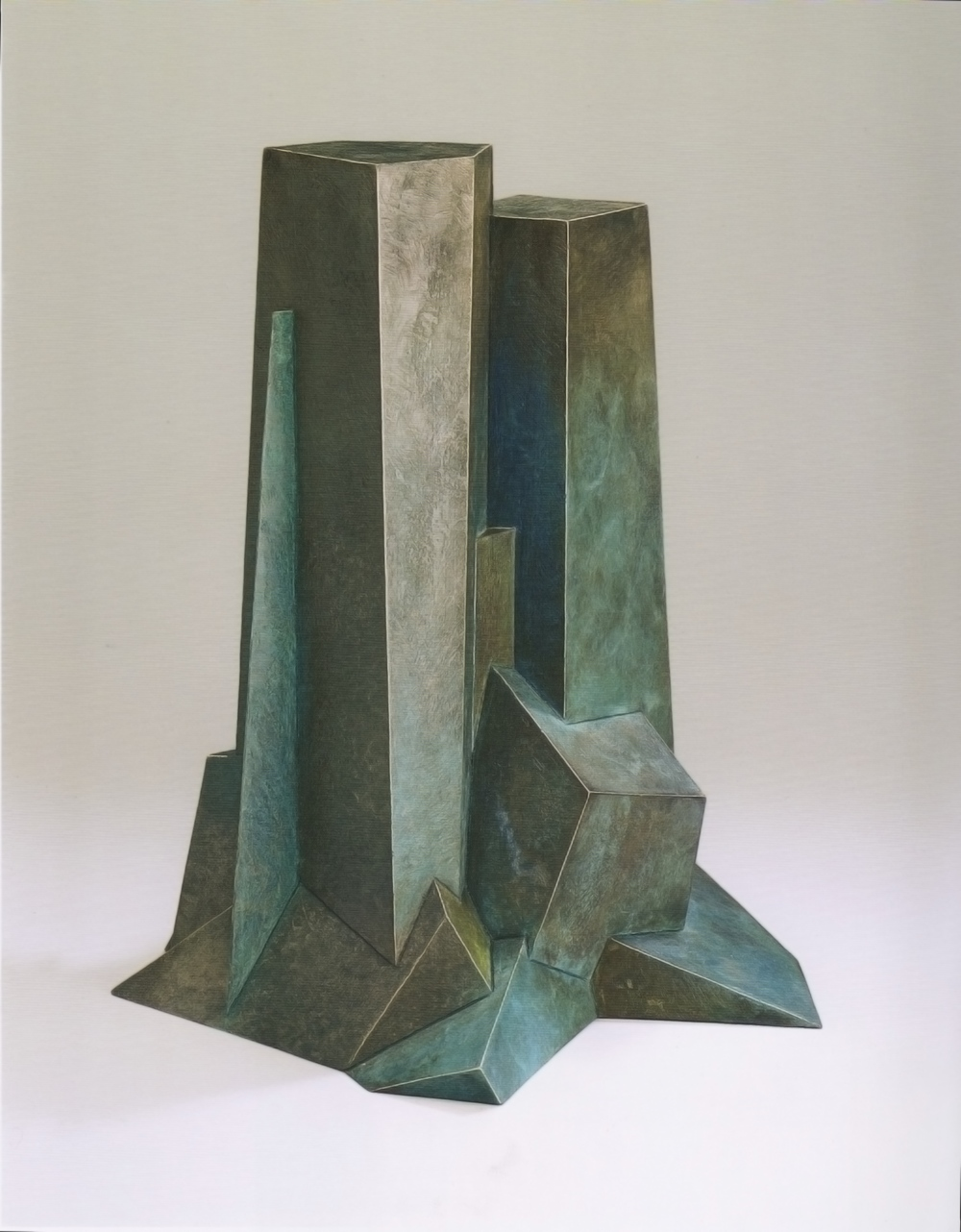"Bruce Beasley, ""Upthrust,"" 1993 cast bronze with patina, 4/9 19"" x 16"" x 13"""