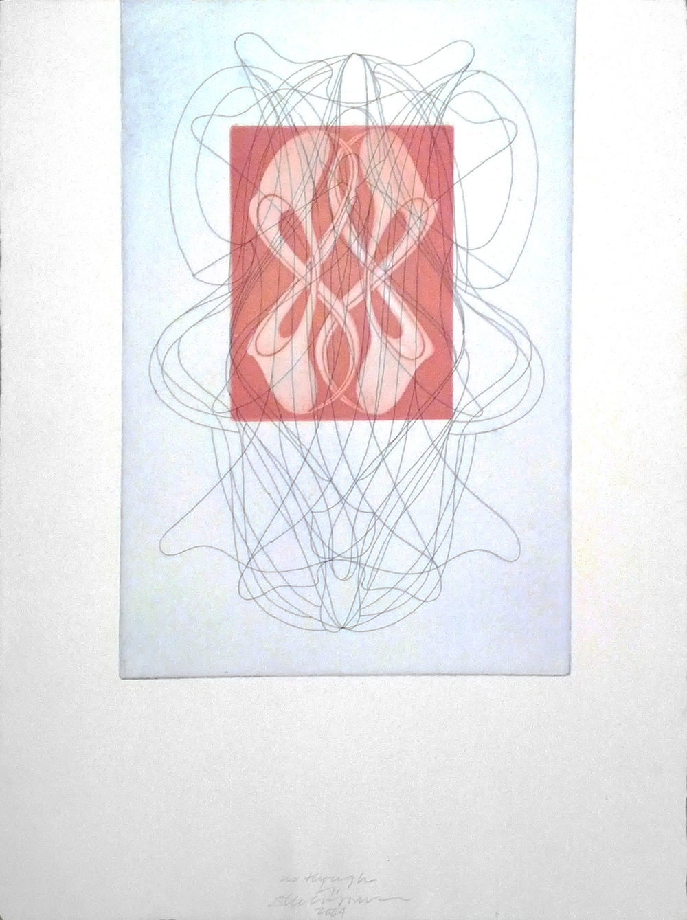 "as though, 2004 etching, mezzoting, on St. Armand paper, 1/11 24"" x 18"""