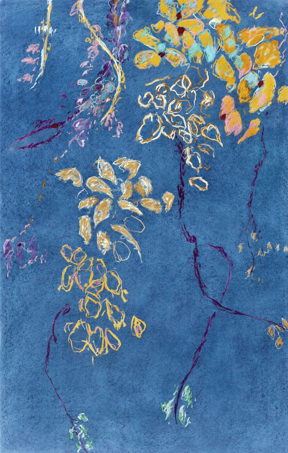 "Fredrick Nelson, ""Vines and Flowers,"" 2015  pastel on paper  61 1/8"" x 41 1/8"""