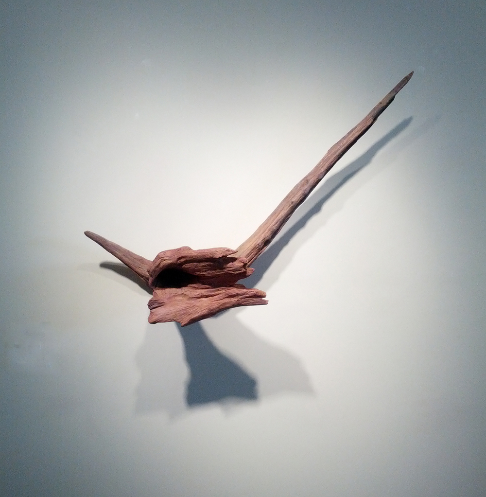 "Flora  , 2000  wood and mixed media  18"" x 37 1/2"" x 8"""
