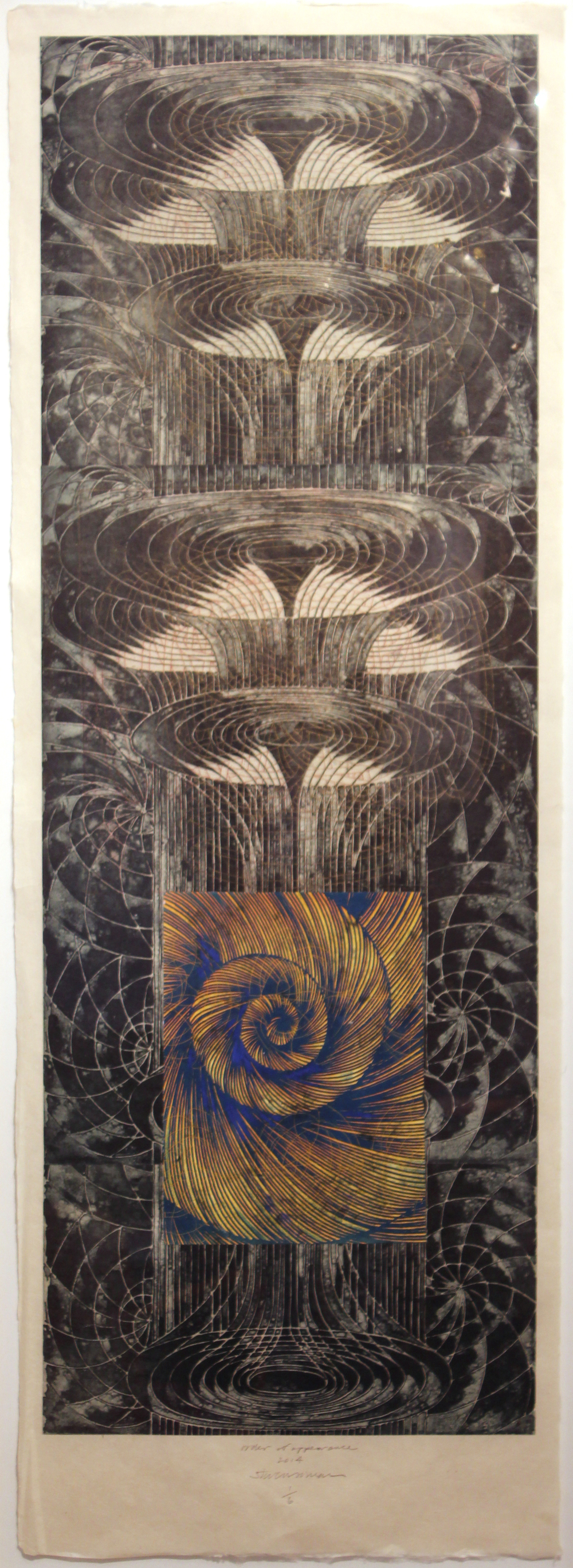 "Steven Sorman, ""order of appearance,"" 2014  photopolymer intaglio, etching, collage on Japan papers, 1/6  55 1/2"" x 21"""