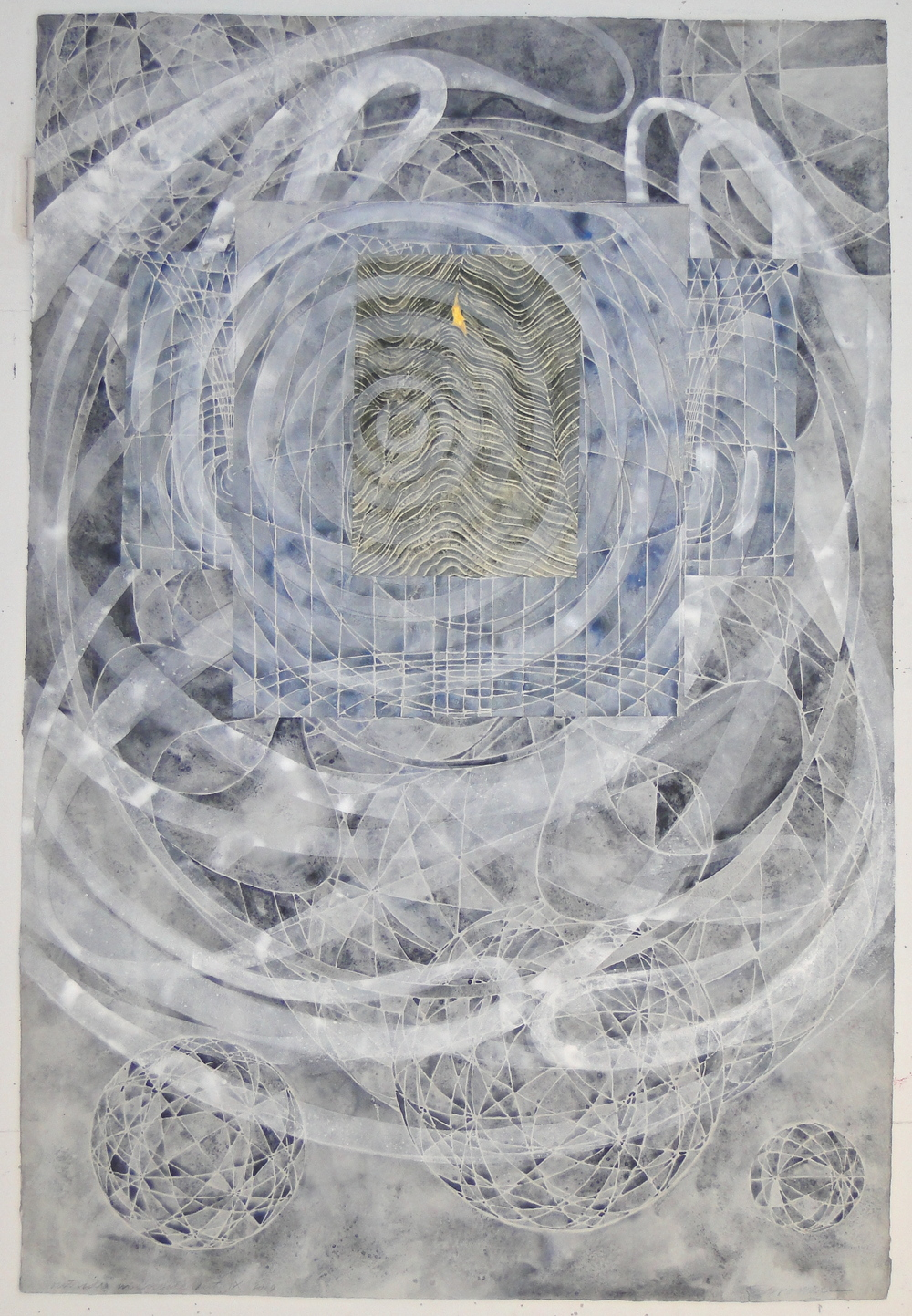 "Steven Sorman, ""outside in/inside out ix,"" 2010  watercolor, gesso, collage on 1923 J Whatman paper  45"" x 31"""