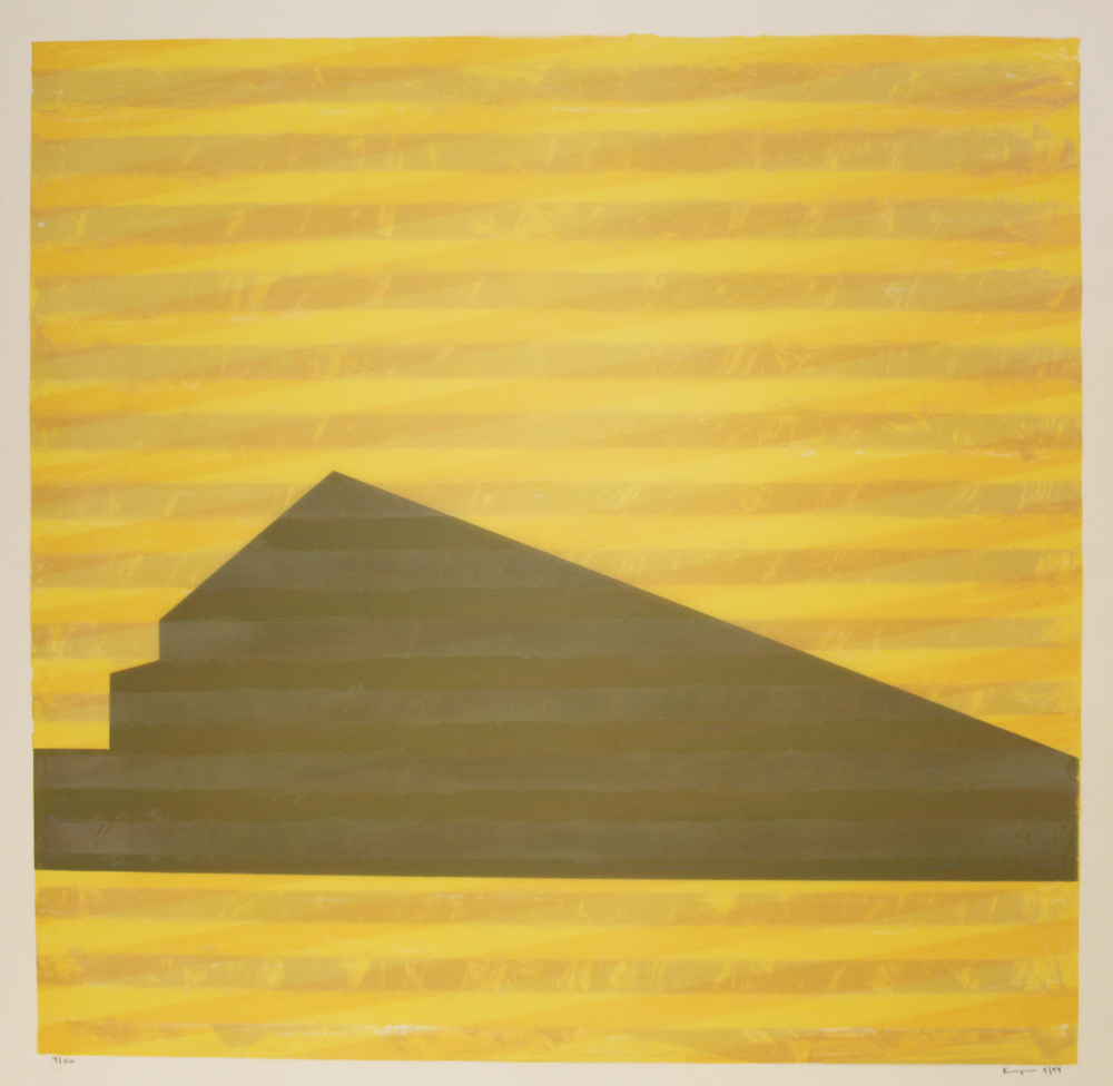 "James Kuiper  (BIO)   ""Untitled,"" 1994   lithograph and hand-colored ink on mylar  34""x34"""