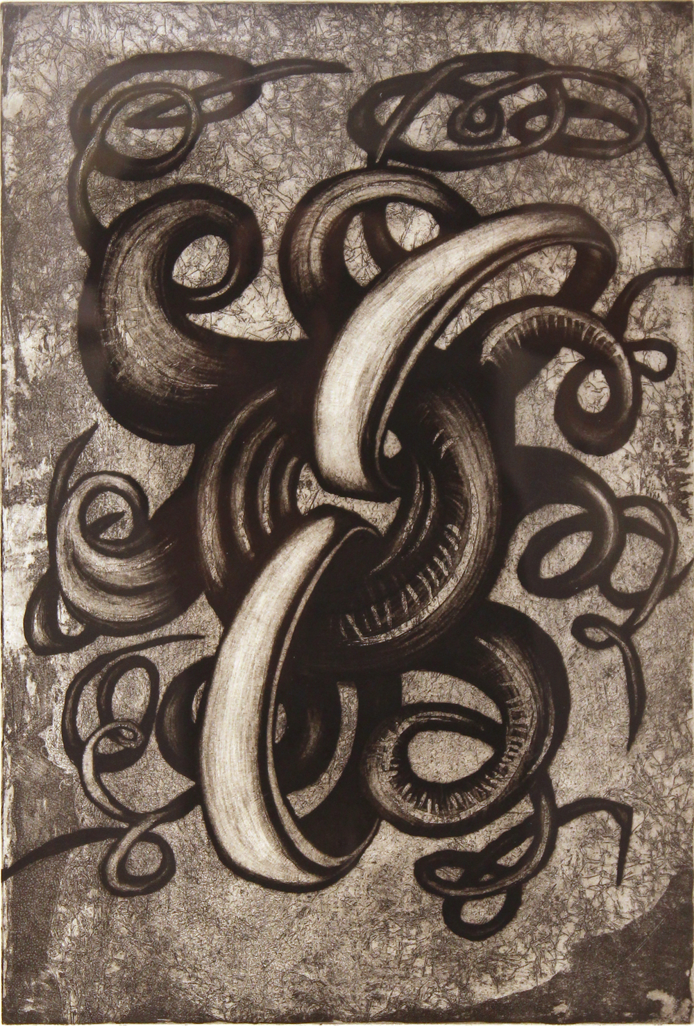 "Jim Nickel  (BIO)   ""Close the Loop,"" 1996   etching 3/25  27"" x 21"""