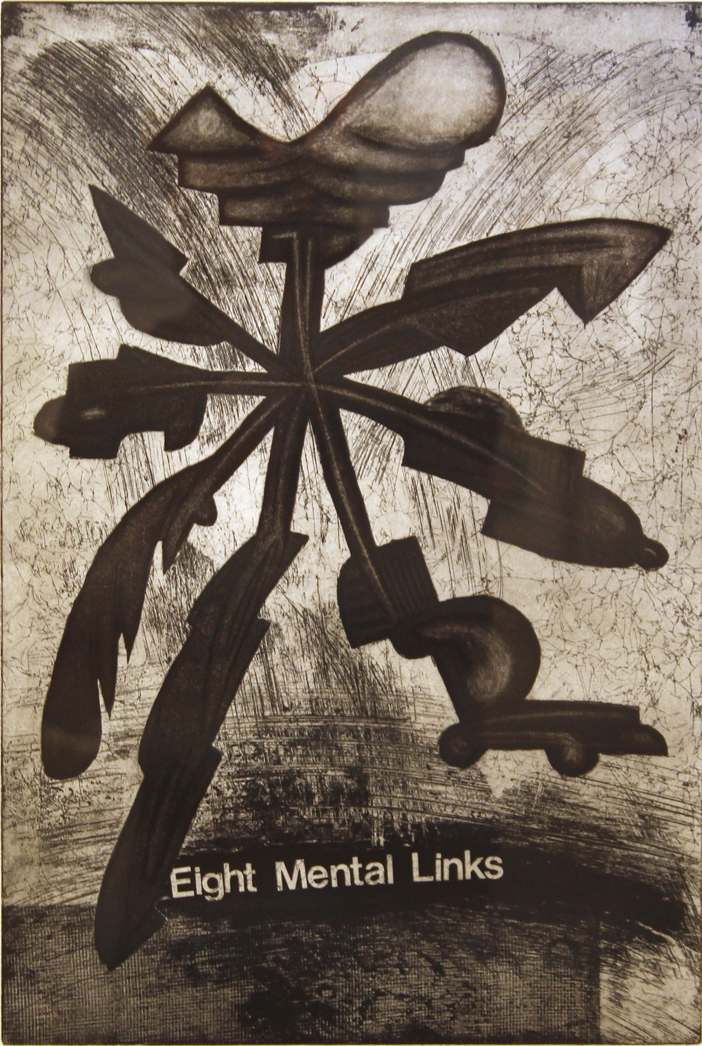 "Jim Nickel   (BIO)   ""Eight Mental Links,"" 1996   etching 3/25  27"" x 21"""