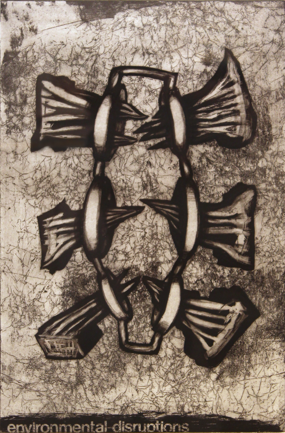 "Jim Nickel  (BIO)   ""Environmental Disruptions,"" 1996   etching 3/25  27"" x 21"""
