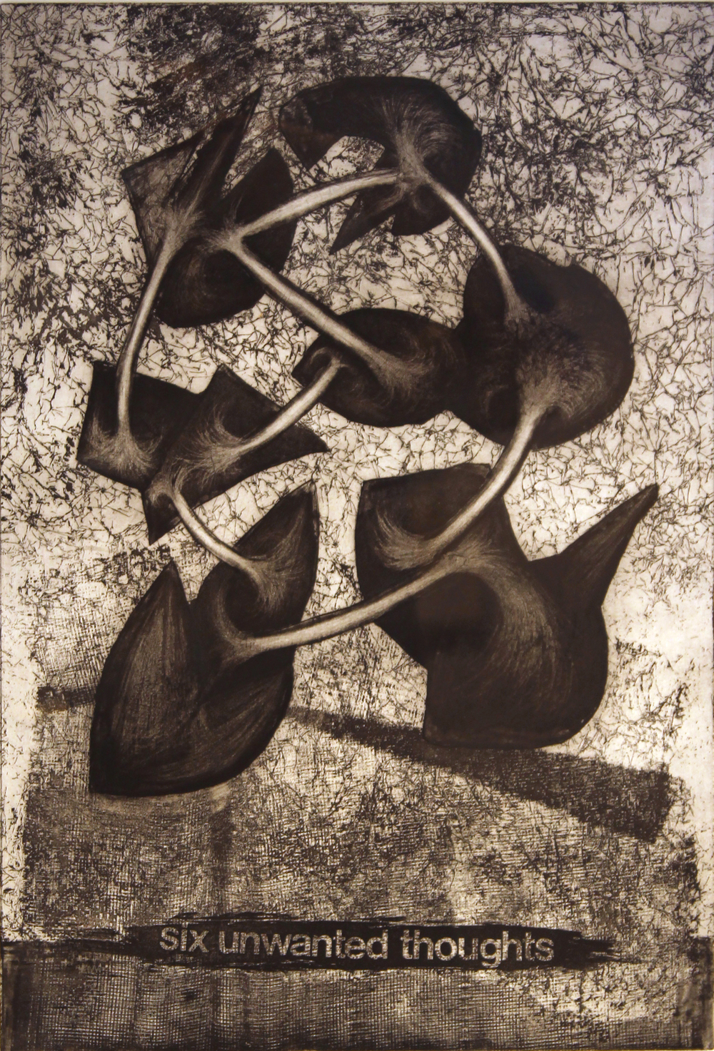 "Jim Nickel  (BIO)   ""Six Unwanted Thoughts,"" 1996   etching 3/25  27"" x 21"""