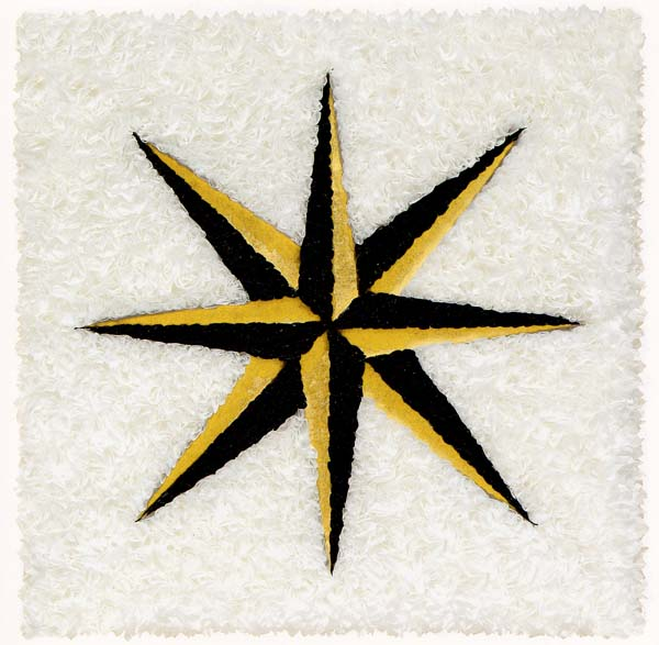 "Lore Bert  (BIO)   ""Black Star,"" 2008  relief object with Japanese paper and gold leaf  21 15/16"" x 21 15/16"""