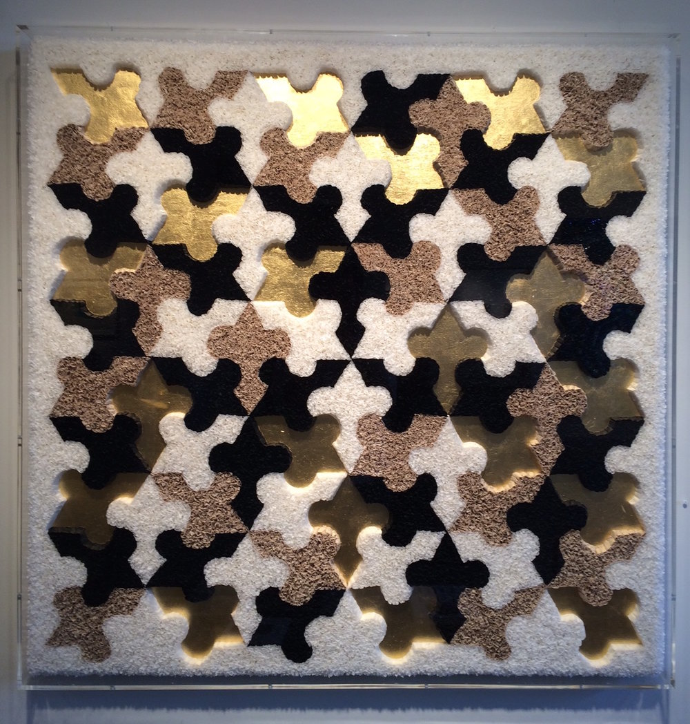 "Lore Bert  (BIO)   ""30 Lillies,"" 2012  relief object with Japanese paper, Nepalese paper, and gold leaf   48"" x 48"""