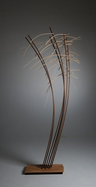 "John Schwartzkopf  (  BIO)    ""Cascade,"" 2014  walnut, cherry, and maple  98"" x 43"" x 12 1/2"""