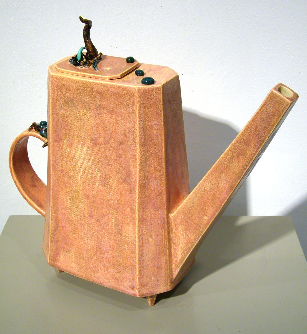 "William Yonker   (  BIO)      ""Teapot,"" 2012  ceramic  12"" x 12 1/2"" x 4"""