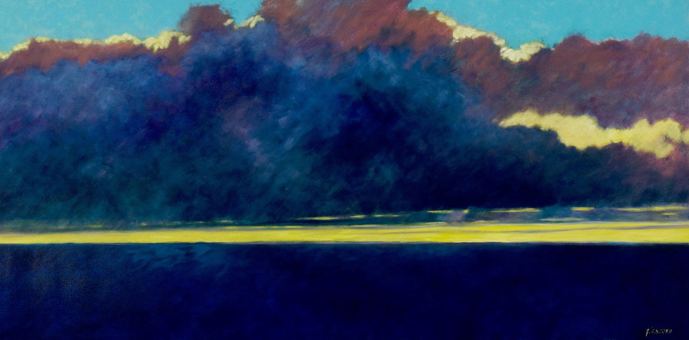 "Ellen Glasgow  (BIO)   ""Bahama Straits, Sunrise,"" 2010  oil on linen  37 1/4"" x 73 1/4"""