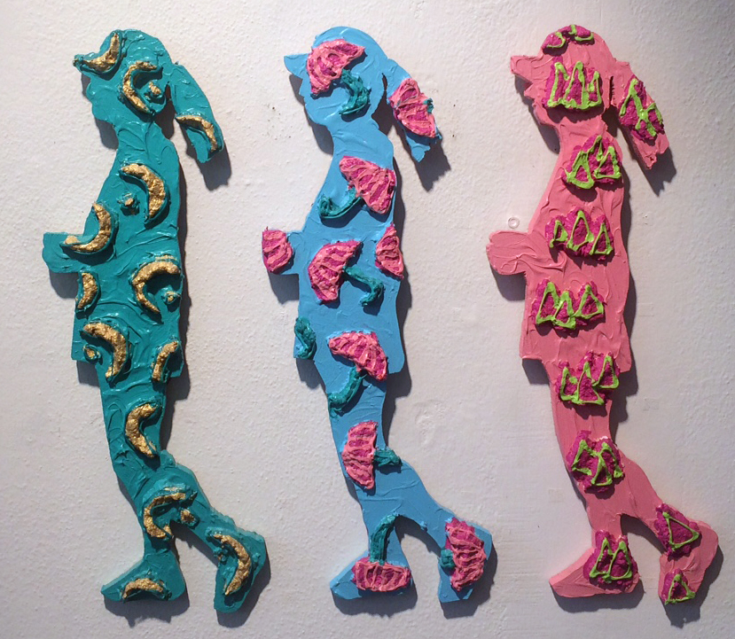 "Claudia DeMonte (BIO)                                  ""Luxury of Exercise ,"" 1990                                   acrylic and pulp paper on wood                                   19 1/2"" x 17 1/4"""