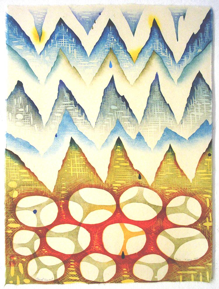 "Glacial Moment,2012   woodcut AP/3   21 1/8"" x 17 1/8"""