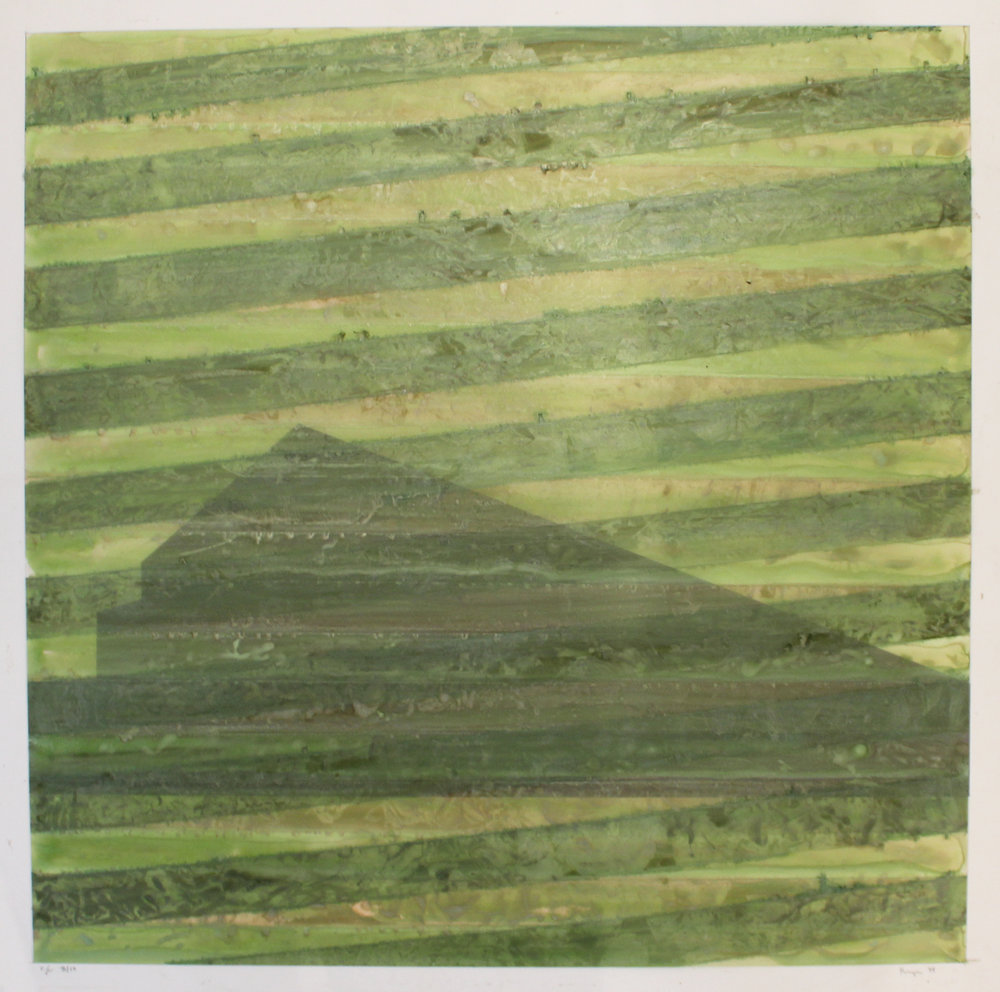"V.E., 1994  lithograph and hand-colored ink on mylar 34""x34"""