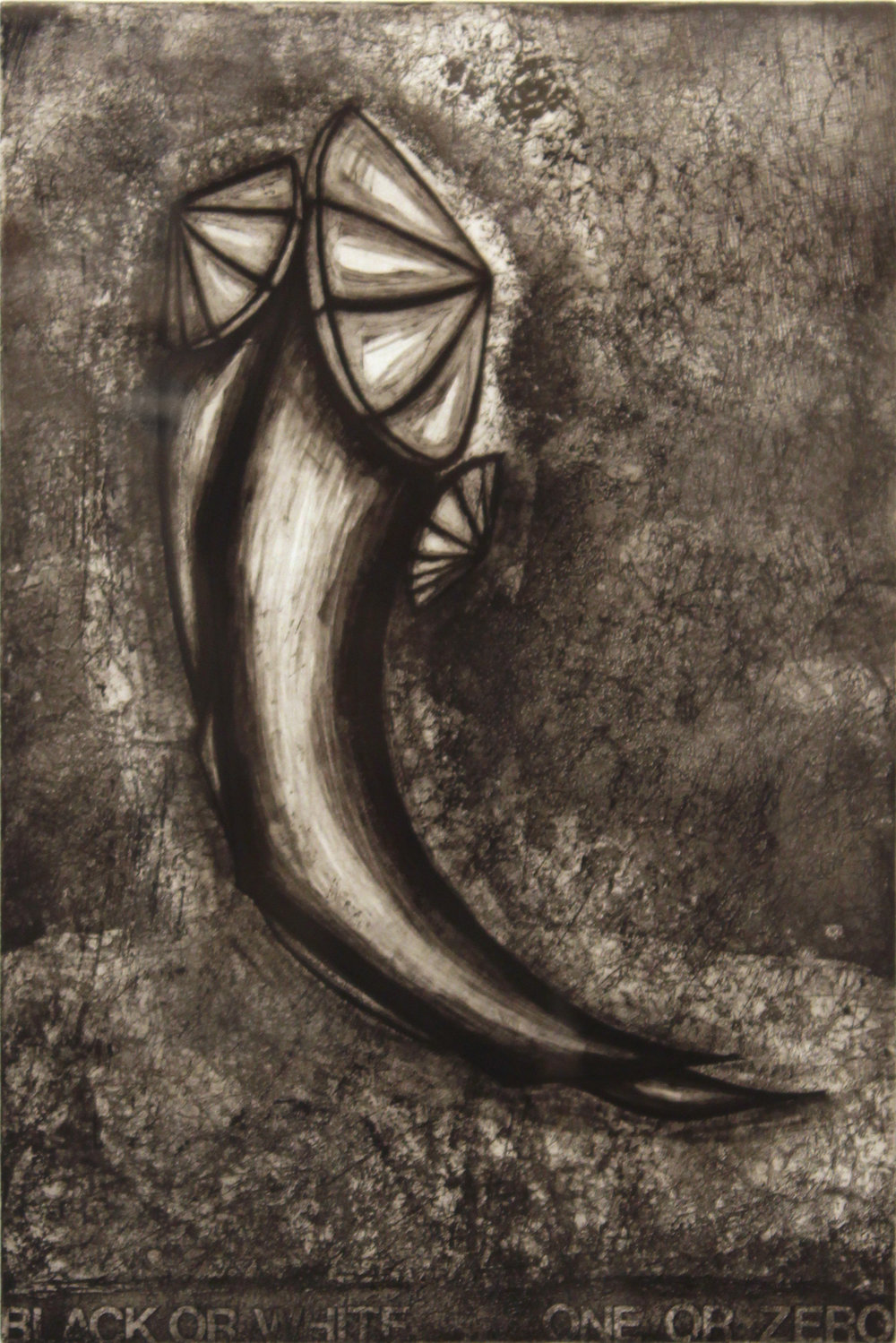 "Black or White: One or Zero,   1996   etching 3/25  27"" x 21"""