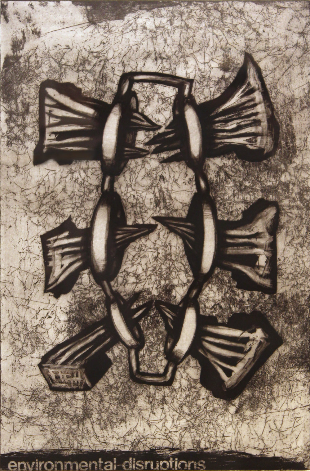 "Environmental Disruptions, 1996  etching 3/25 27"" x 21"""