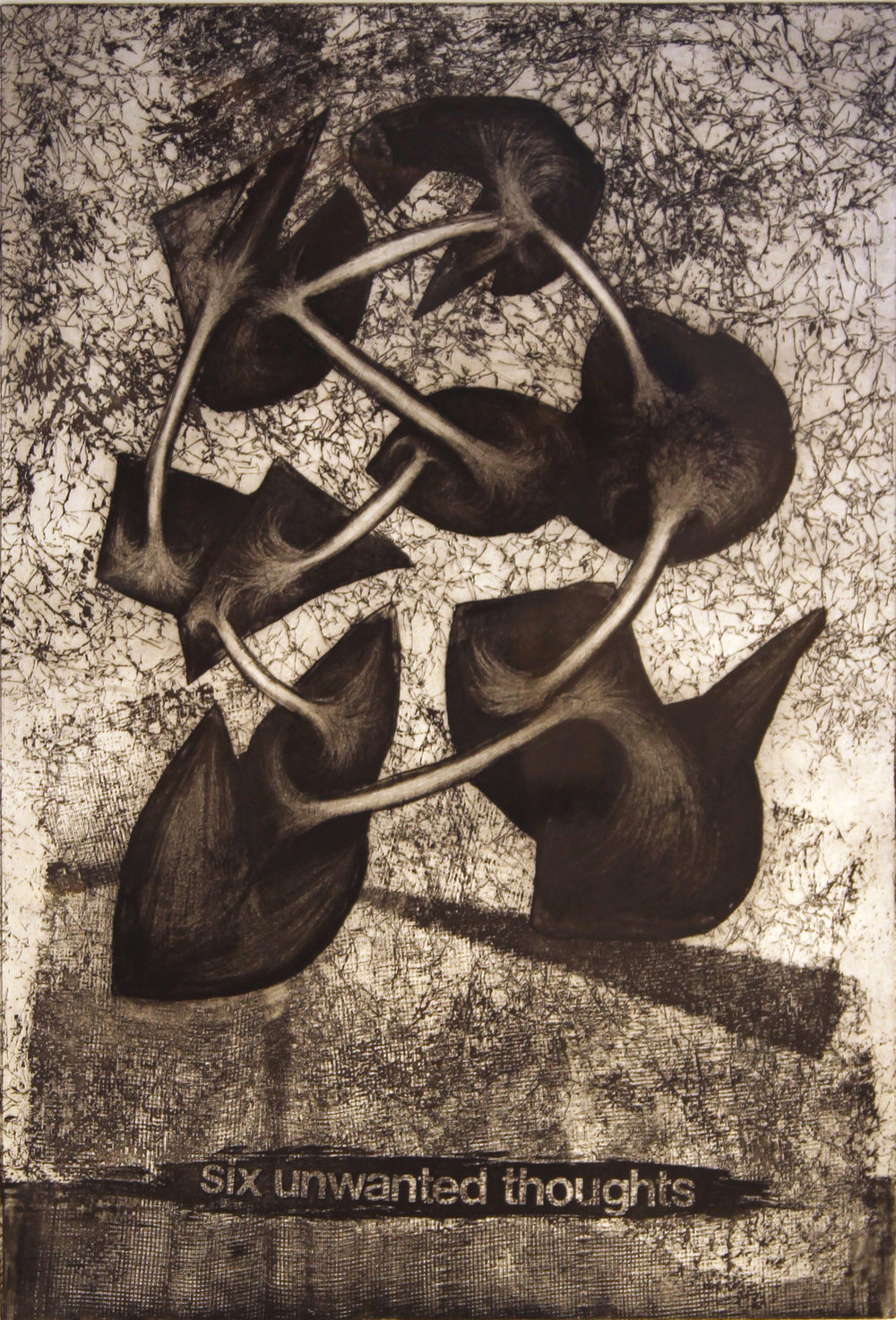 "Six Unwanted Thoughts, 1996  etching 3/25 27"" x 21"""
