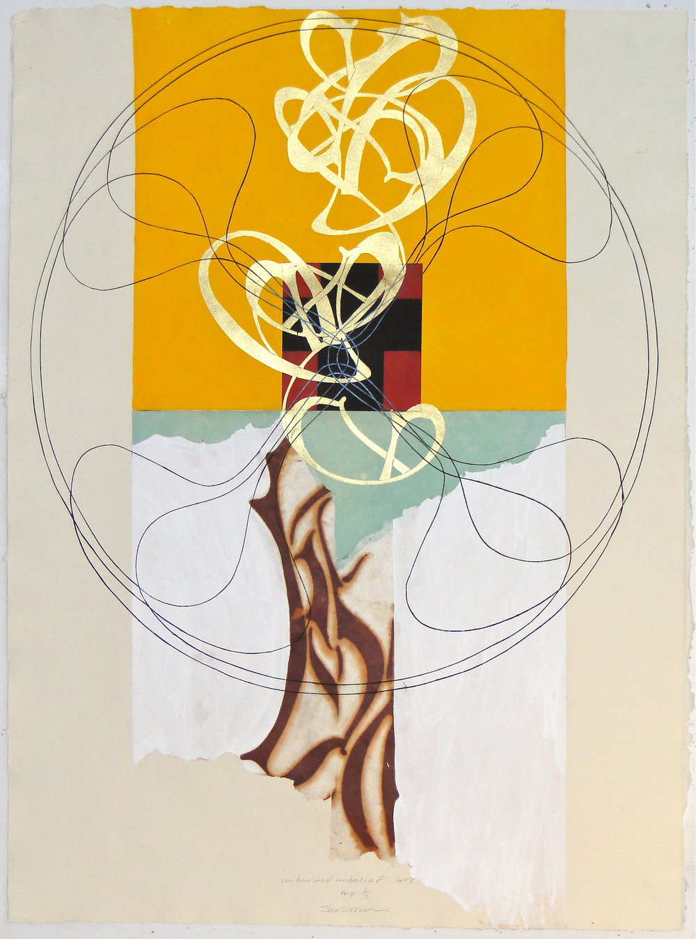 "inherited unbelief, 2008 engraving, aquatint, woodcut, rust stencil, collage, hand painting on TGL paper 38 1/2""x28 1/4"""