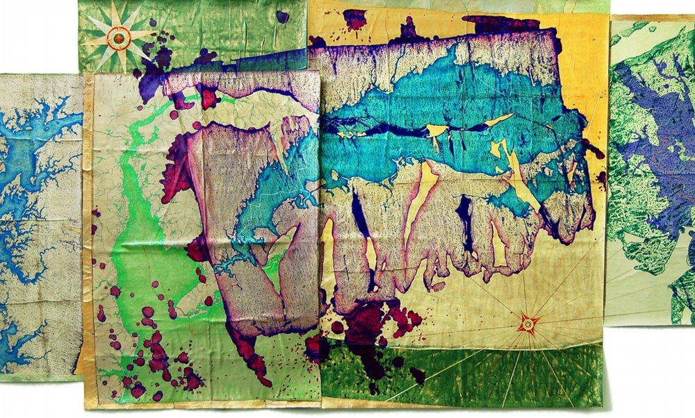 "Leila Daw,  Northeast Seas Exploration,  2011, mixed media on silk backed by canvas, 60"" x 143"""