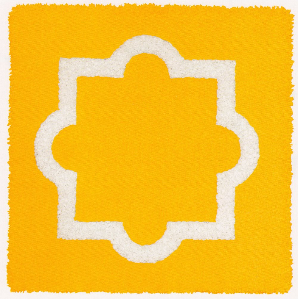 "Lore Bert,  Yellow Form , 2009, relief object with Japanese paper, 25 15/16"" x 25 15/16"""