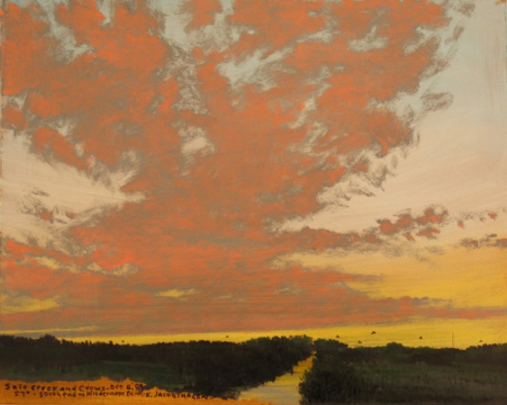"Keith Jacobshagen,  Salt Creek and Crows , 2009, oil on paper, 17 1/4"" x 18 1/2"""