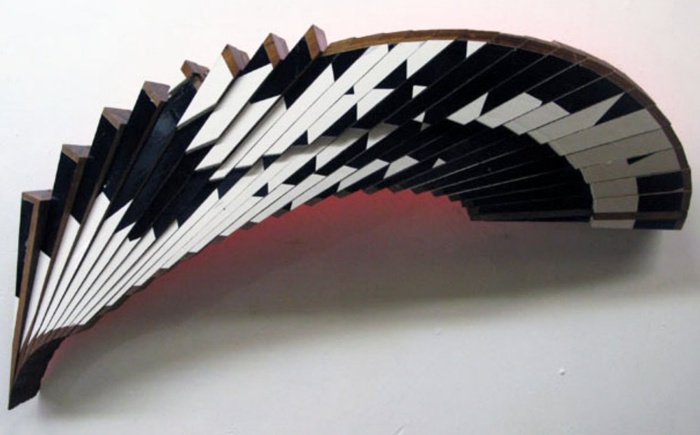 "Jim Nickel,   Mahogany Venture Piece #37 , 2013, enamel on African mahogany, 19"" x 46"" x 7"""