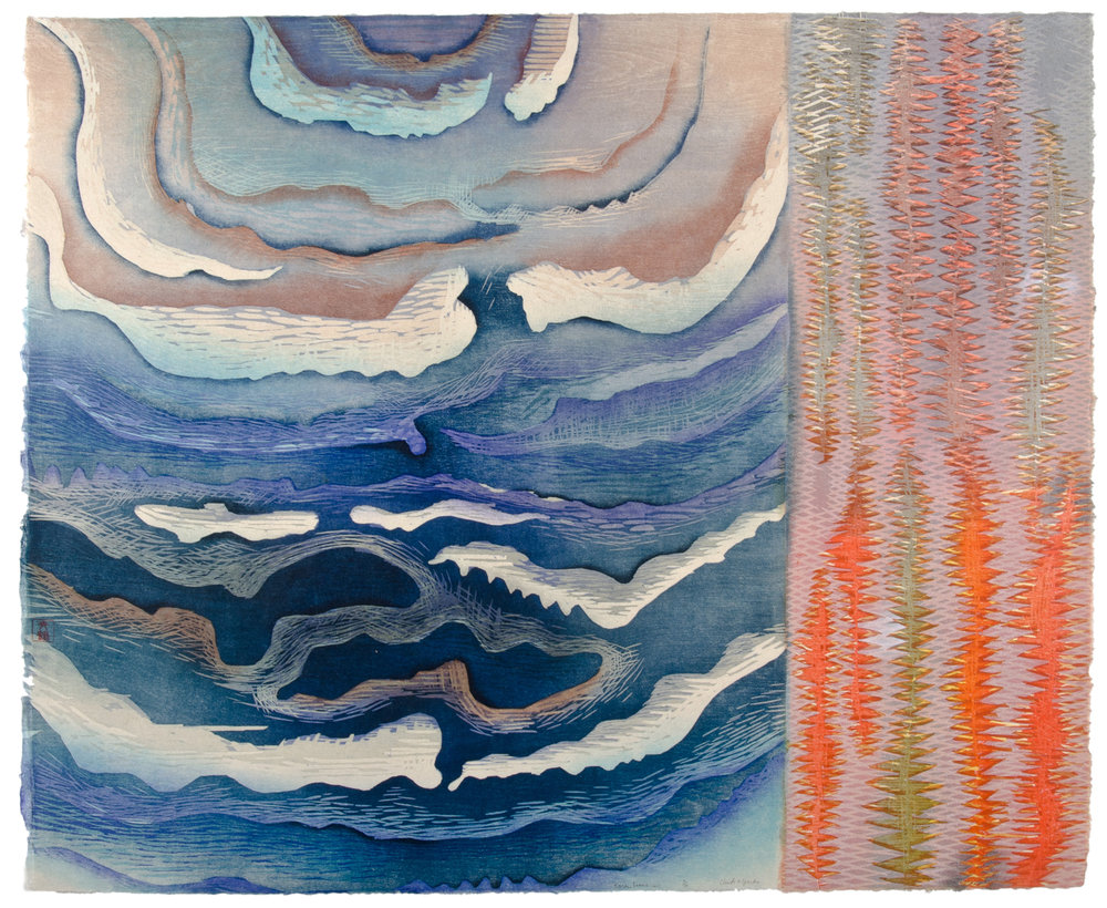 "Karen Kunc  (BIO) Clouds and Sparks,  2011 woodcut 30"" x 35"""
