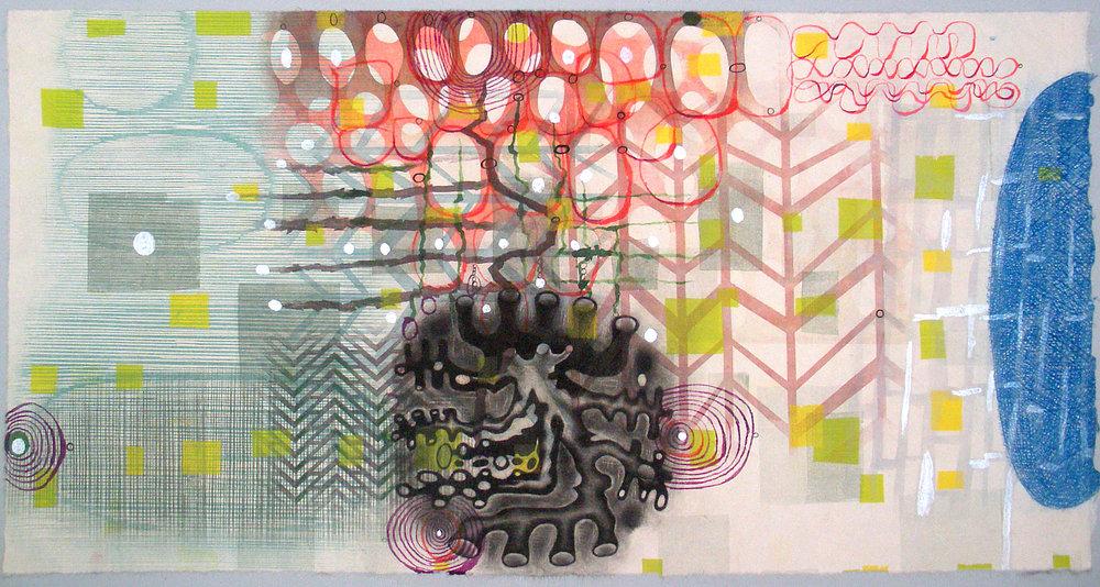 "Karen Kunc  (BIO)    Plant Architecture , 2016  monoprint  20"" x 32"""