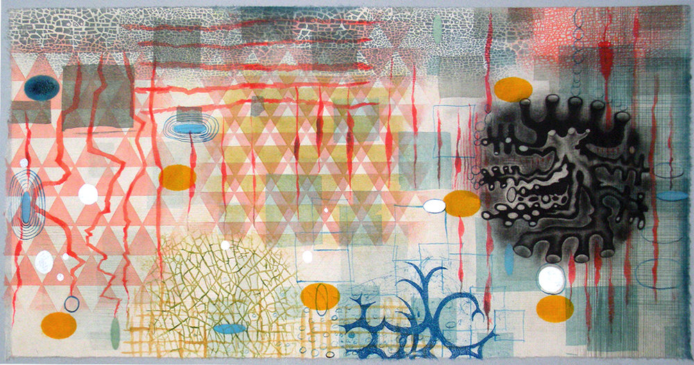 "Karen Kunc   (BIO)    Floral Transition ,  2016  monoprint  20"" x 32"""