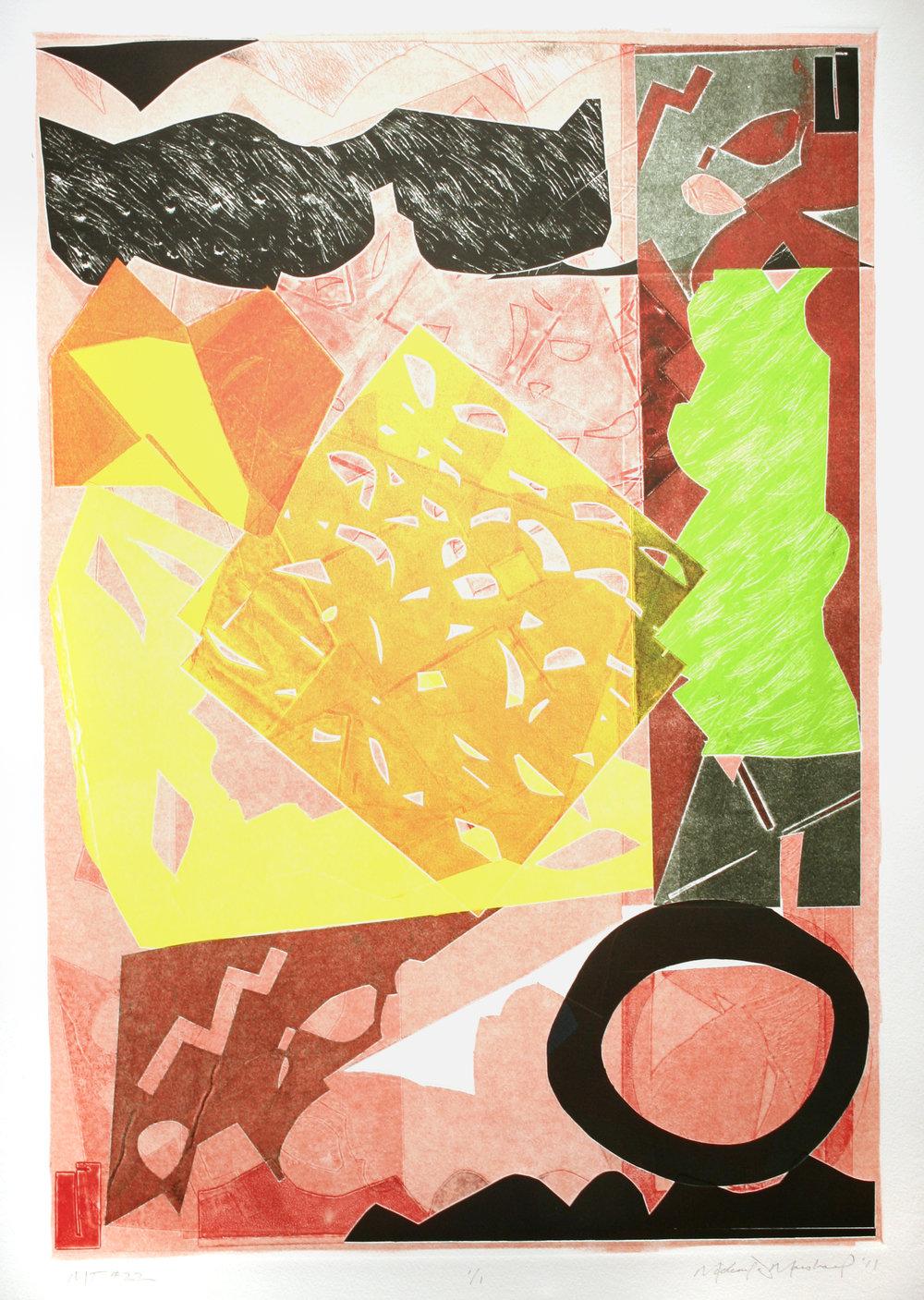 "Michael Marshall(BIO), #22, 2011, mono print, 33"" x 25"""