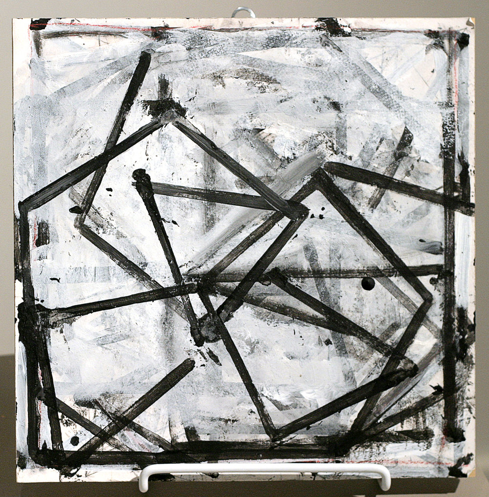 "Annette Morriss (BIO), Untitled 10, 1997, acrylic on paper/wood, 10"" x 10"""