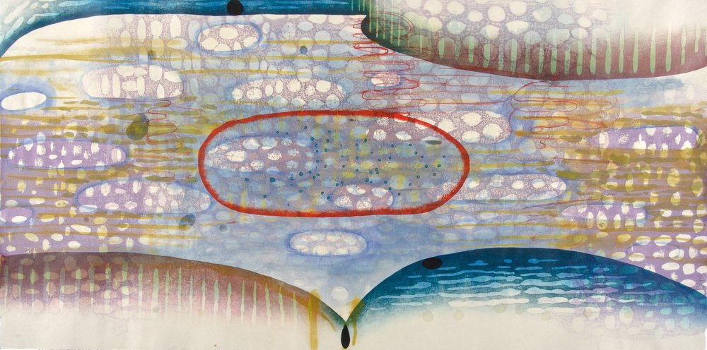 "Karen Kunc   (BIO)     Bay  ,  2011  woodcut, mokuhanga woodblock, watercolor, wax  22"" x 42"""