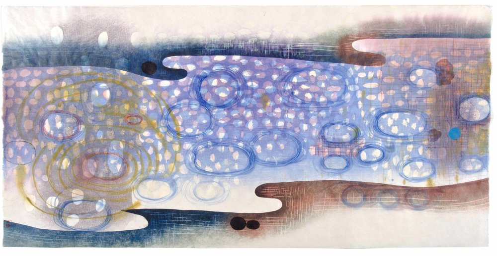 "Karen Kunc   (BIO)     Dawn  ,  2011  woodcut, mokuhanga woodblock, watercolor, wax  22"" x 42"""