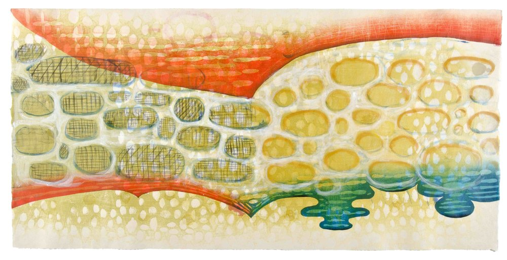 "Karen Kunc   (BIO)     Inlet  ,  2011  woodcut, mokuhanga woodblock, watercolor, wax  22"" x 42"""