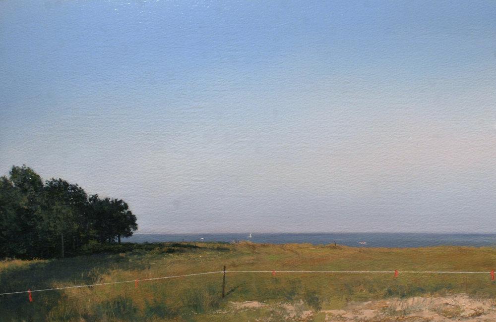 "Adam Straus (BIO), Habitat, Edge of Peconic Bay, 2005, oil on paper, 25 3/4"" x 33 3/8"""