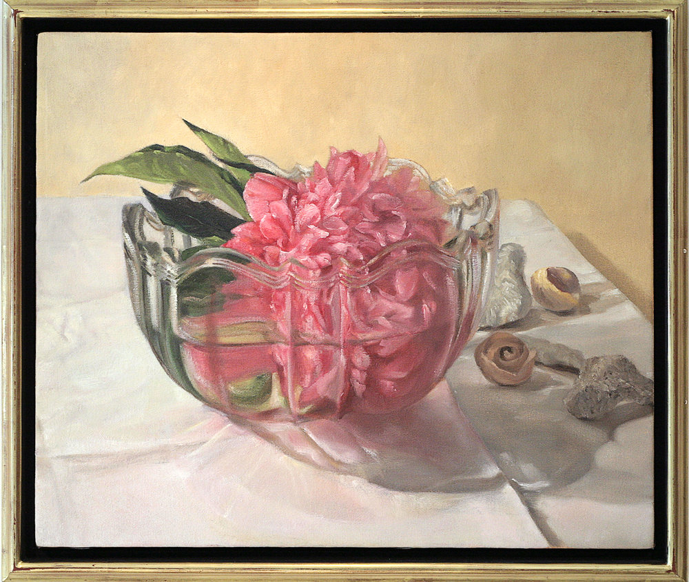 "Mary Joan Waid (BIO), Floating Peony, 1998, oil on canvas, 23"" x 27"""