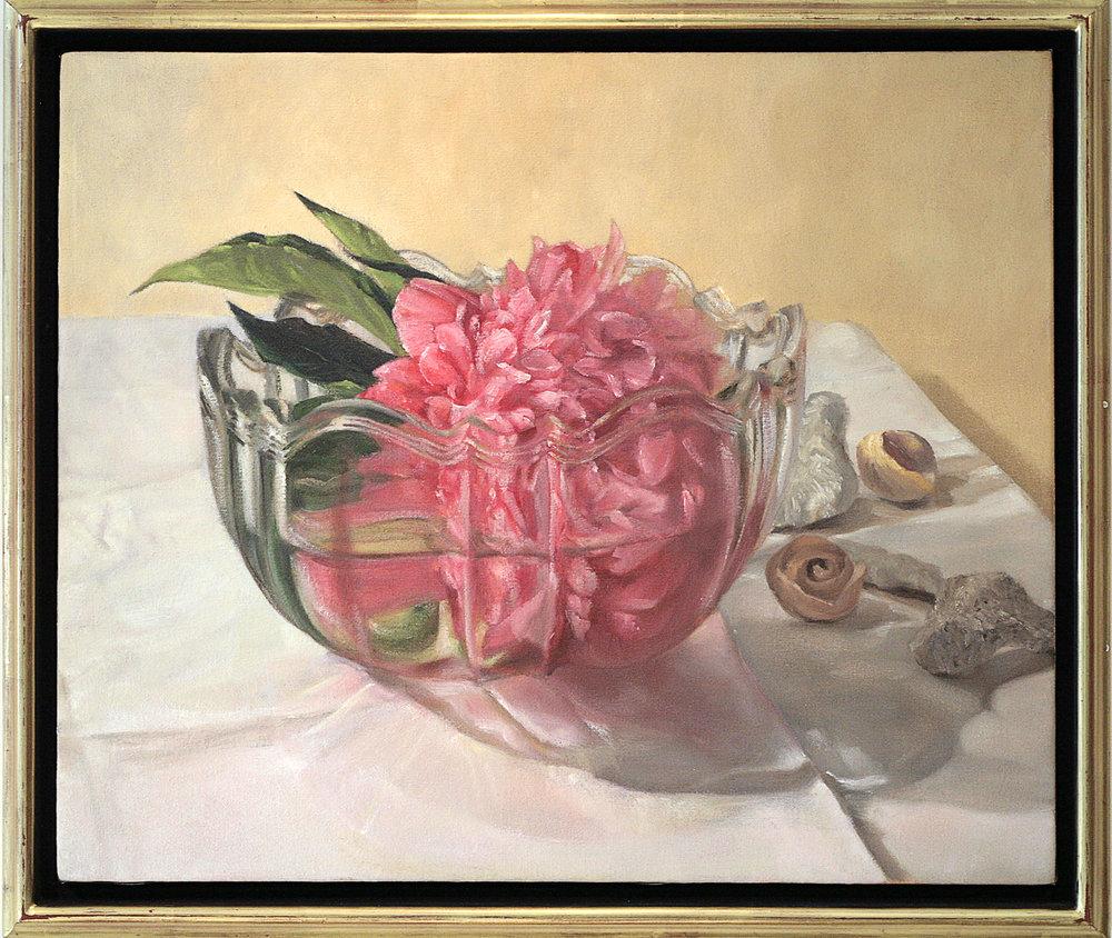 "Mary Joan Waid(BIO), Floating Peony, 1998, oil on canvas, 23"" x 27"""