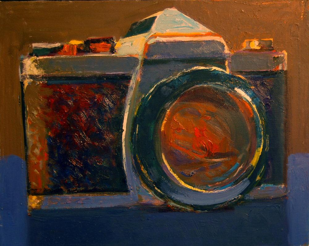 "Peter Charlap(BIO),Nikon I, 2003, oil on canvas, 17"" x 21"""